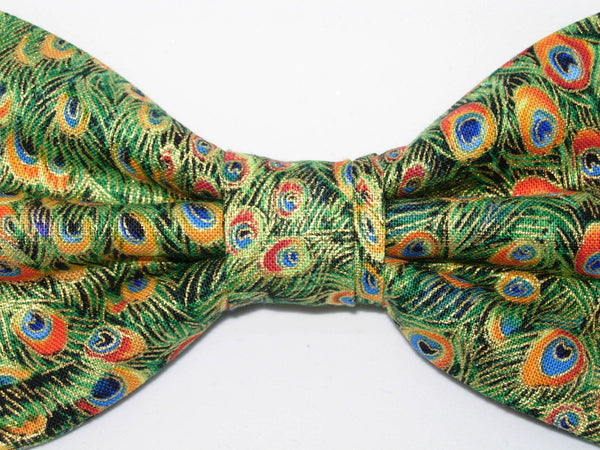 Green Peacock Feathers Bow Tie - Green Feathers with Metallic Gold Trim