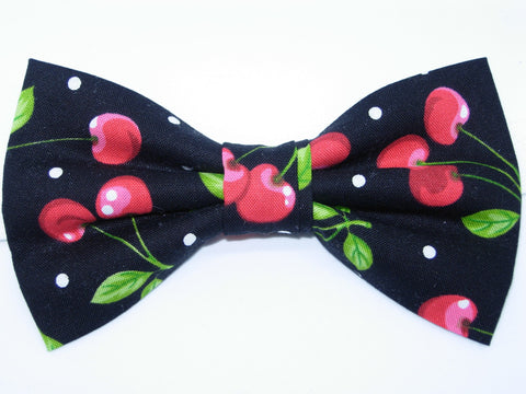 CHERRY DELIGHT PRE-TIED BOW TIE - RED CHERRIES ON BLACK WITH POLKA DOTS