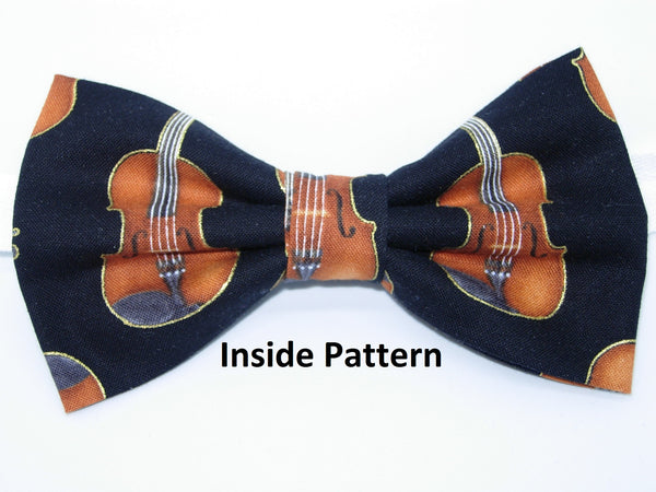Violins Bow Tie / Rows of Violins with Metallic Gold Trim on Black / Self-tie & Pre-tied Bow tie - Bow Tie Expressions