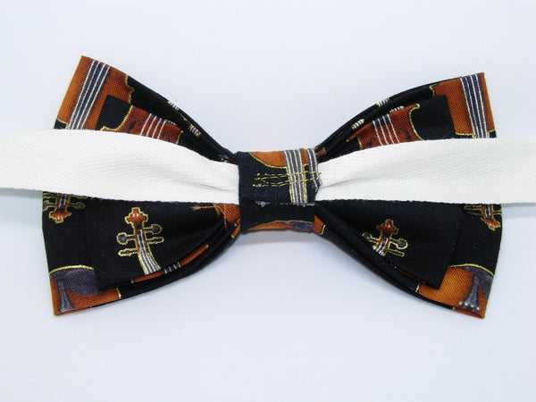 Violins Bow Tie / Rows of Violins with Metallic Gold Trim on Black / Pre-tied Bow tie - Bow Tie Expressions