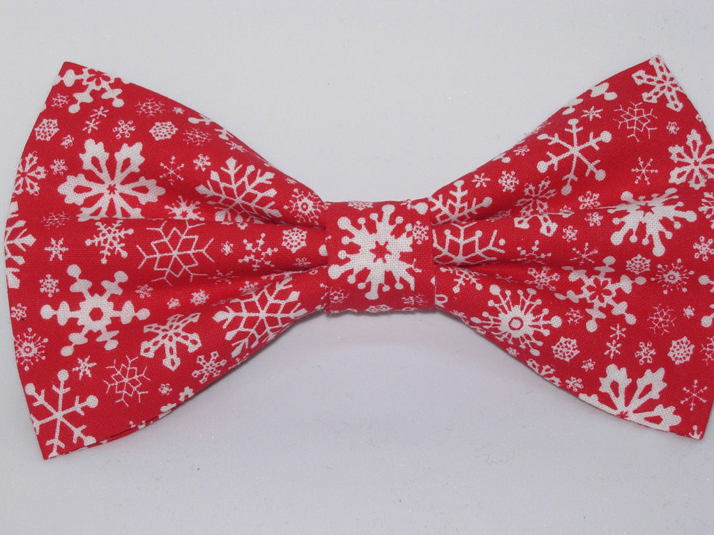 Delicate White Snowflakes on Red Pre-tied Bow Tie
