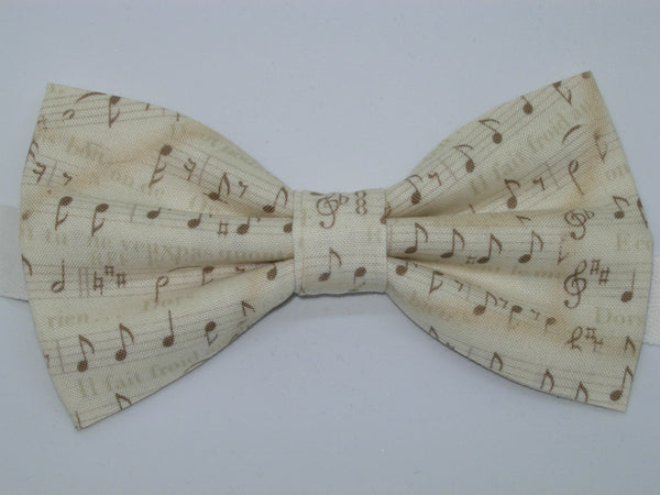 Music Bow Tie / Brown Musical Notes on Parchment / Recitals / Self-tie & Pre-tied Bow tie - Bow Tie Expressions