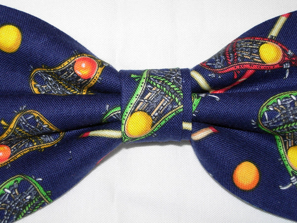 Lacrosse Bow tie / Lacrosse Sticks on Navy Blue / Self-tie & Pre-tied Bow tie - Bow Tie Expressions