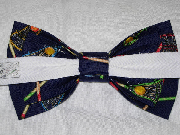 Lacrosse Bow tie / Lacrosse Sticks on Navy Blue / Pre-tied Bow tie - Bow Tie Expressions