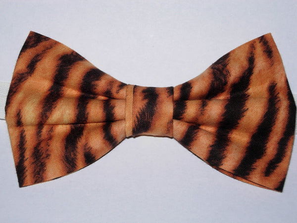Tiger Print Pre-tied Bow Tie - Furry-looking Black Tiger Stripes on Gold