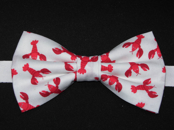Red Lobster Bow tie / Lobsters, Crawfish, Crayfish Tossed on White / Pre-tied Bow tie - Bow Tie Expressions
