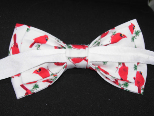 Red Carndinals Bow tie / Red Cardinals Tossed on White / Pre-tied Bow tie - Bow Tie Expressions