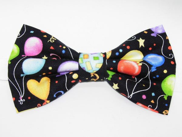 Party Balloons Bow Tie - Colorful Balloons & Confetti on Black | Pre-tied Bow tie - Bow Tie Expressions