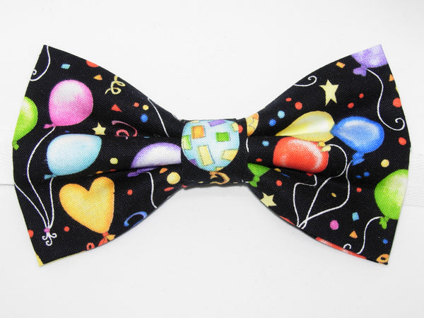 Birthday Party Bow Tie & Suspender Set - Black Suspenders - Mens MED/LG/XL, Boys SMALL - Bow Tie Expressions