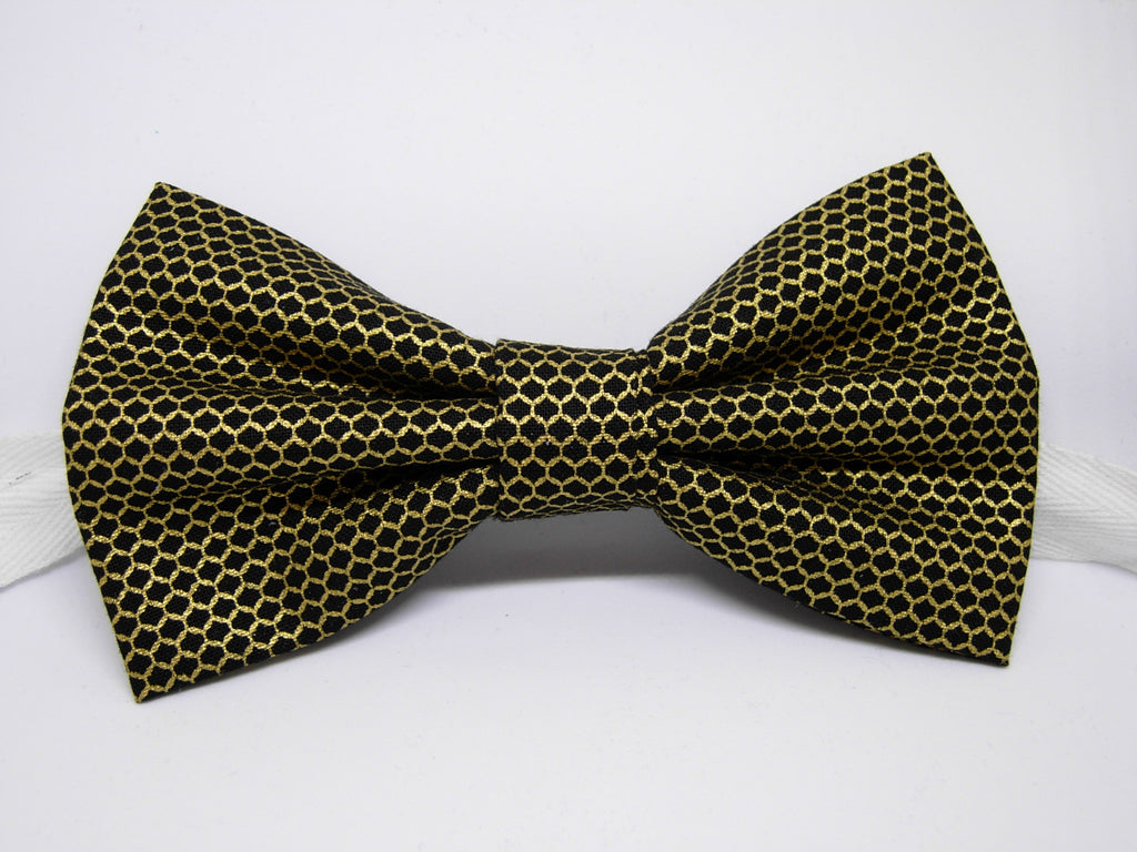 Gold & Black Bow tie / Metallic Gold Lace Mesh on Black / Retro Gatsby Style / Pre-tied Bow tie - Bow Tie Expressions