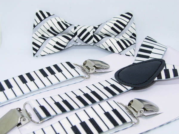 Piano Keys Bow Tie & Suspender Set - Boys Suspenders - Ages 6mo. - 6yrs.