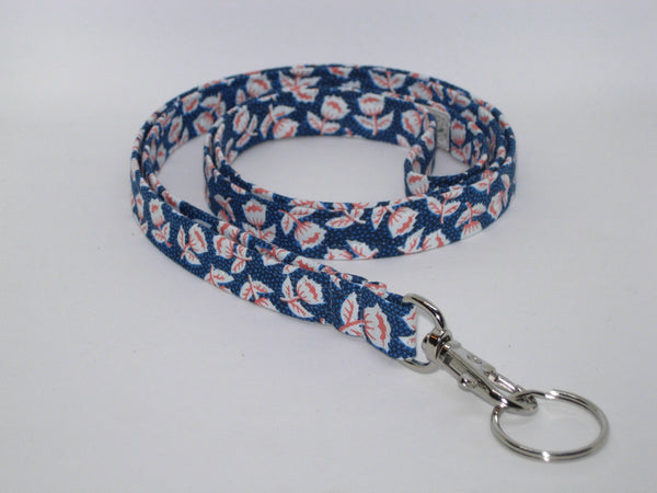 Flower Lanyard / Alpine Edelweiss on Navy Blue / Spring Lanyard, Key Chain, Key Fob, Cell Phone Wristlet