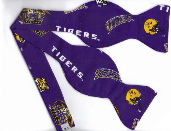 LOUISIANA STATE TIGERS LSU BOW TIE (ICONS ON PURPLE) - Bow Tie Expressions