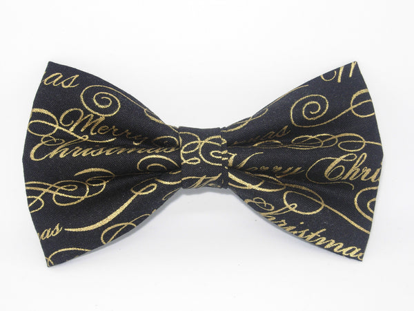 Christmas Bow tie / Merry Christmas on Black / Metallic Gold / Pre-tied Bow tie
