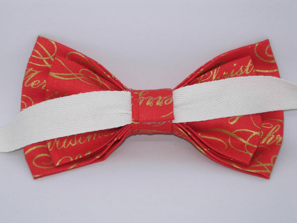 Christmas Bow tie / Merry Christmas on Red / Metallic Gold / Pre-tied Bow tie - Bow Tie Expressions