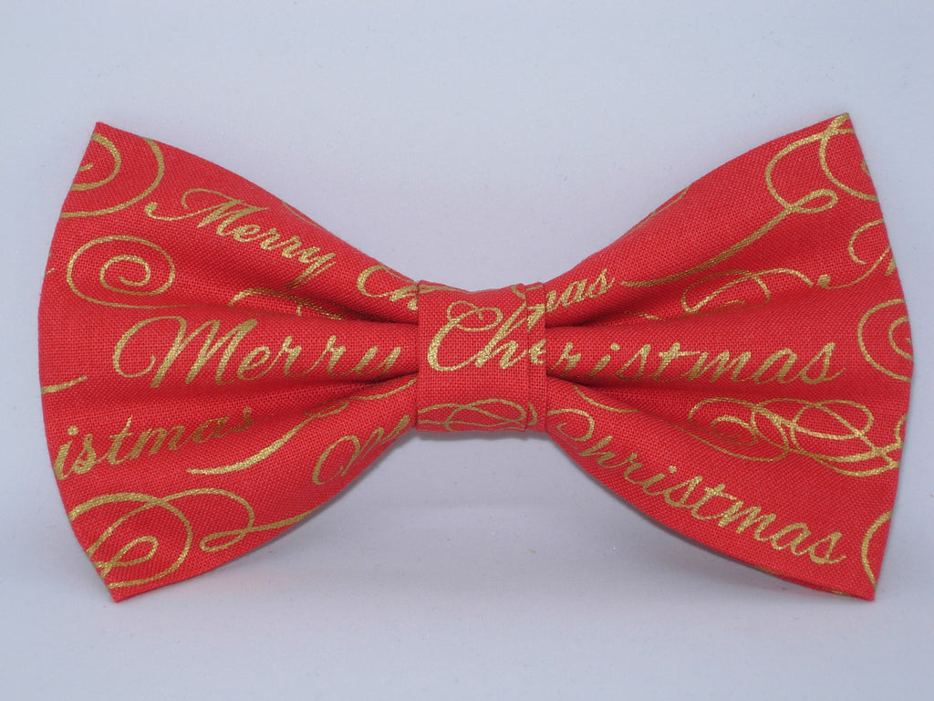 christmas bow tie merry christmas on red metallic gold pre tied bow