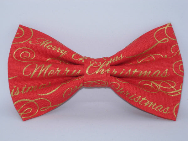 Christmas Bow tie / Merry Christmas on Red / Metallic Gold / Pre-tied Bow tie