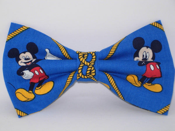 Mickey Mouse Bow tie / Mickey & Ropes on Blue / Disney Party / Pre-tied Bow tie