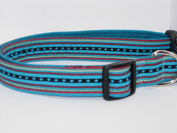 Navajo Dog Collar / Running Water / Red & Black Lines on Turquoise Blue / Matching Dog Bow tie - Bow Tie Expressions