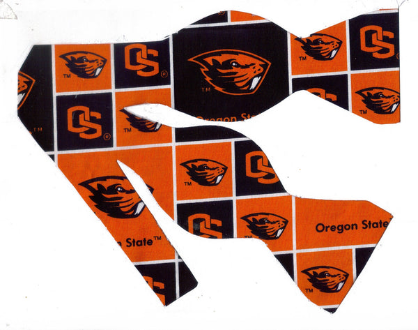 OREGON STATE BEAVERS BOW TIE (BLOCKS) with Benny Beaver logo - Bow Tie Expressions