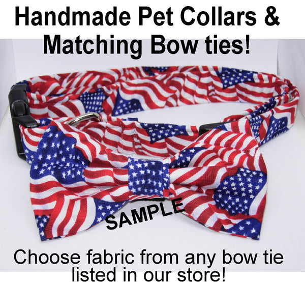 Handmade Dog Collar / Your choice from any bow tie in our store / Matching Dog Bow tie - Bow Tie Expressions