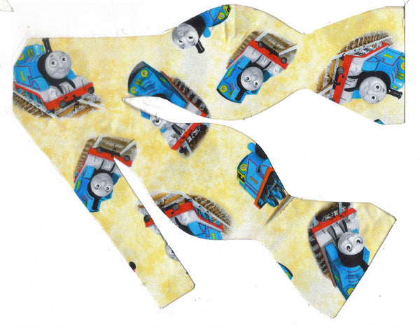 Thomas Train Bow tie / Thomas the Train on Light Yellow / Self-tie & Pre-tied Bow tie - Bow Tie Expressions