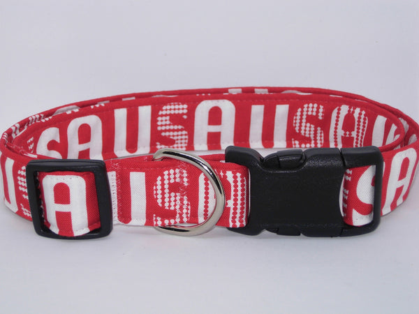 USA Dog Collar / Patriotic Pet Collar / Red & White American Dog Collar / Matching Dog Bow tie - Bow Tie Expressions