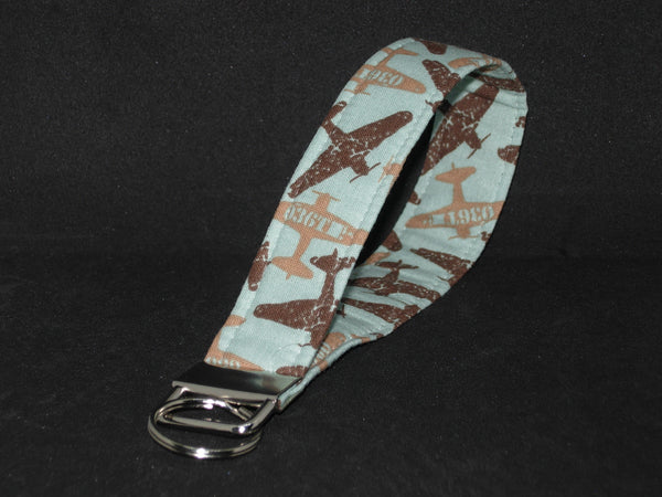 Pilot Key Fob / WWII War Planes on Mint Green / Military Vet Lanyard, Key Chain, Cell Phone Wristlet - Bow Tie Expressions