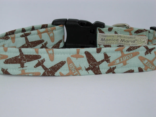 Military Pilot Dog Collar / Brown & Tan WWII Fighter Airplanes on Mint Green / Matching Dog Bow tie - Bow Tie Expressions