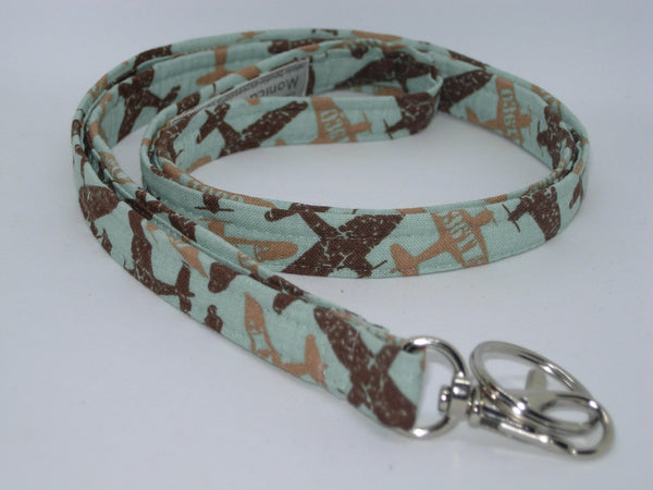 Pilot Key Lanyard / WWII War Planes on Mint Green / Military Vet Key Fob, Key Chain, Cell Phone Wristlet