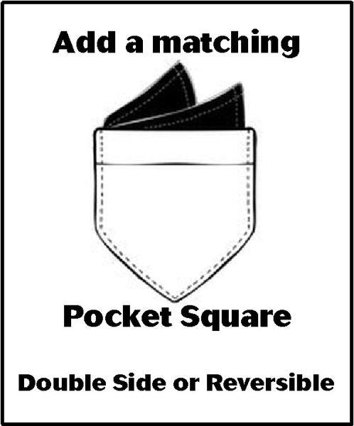 Matching Pocket Square - Double Sided or Reversible - 2 Sizes!