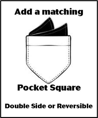 Matching Pocket Square - Double Sided or Reversible - 2 Sizes! - Bow Tie Expressions