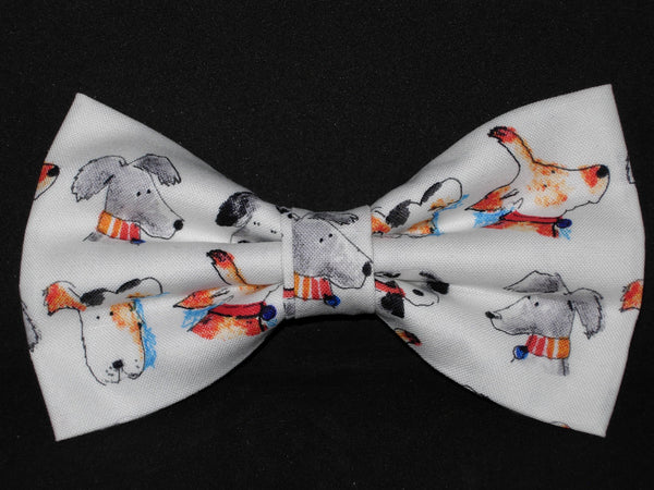 Adopt a Puppy Bow tie / Cute Dogs on White / Pre-tied Bow tie - Bow Tie Expressions