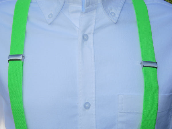 Bright Green Suspenders - Mens Suspenders - Teen Suspenders - Medium/Large - Bow Tie Expressions