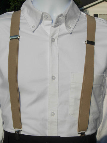 Khaki Tan Suspenders - Mens Suspenders - Teen Suspenders - Medium/Large - Bow Tie Expressions