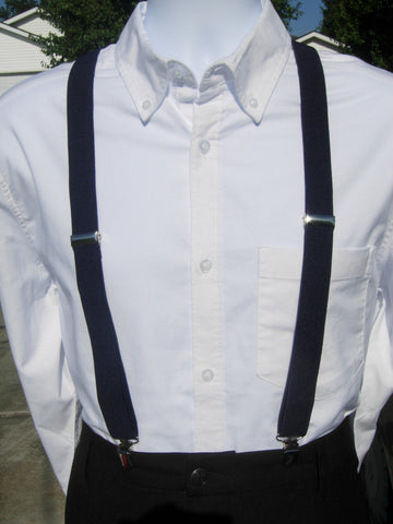 Navy Blue Suspenders - Mens Suspenders - Boys Suspenders - Small/Medium/Large/X-Large - Bow Tie Expressions