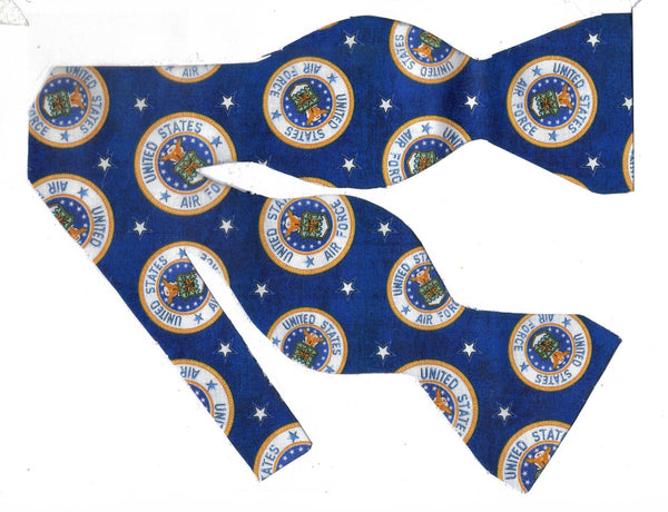 Air Force Bow tie / USAF Emblems & Stars on Blue / Self-tie & Pre-tied Bow tie