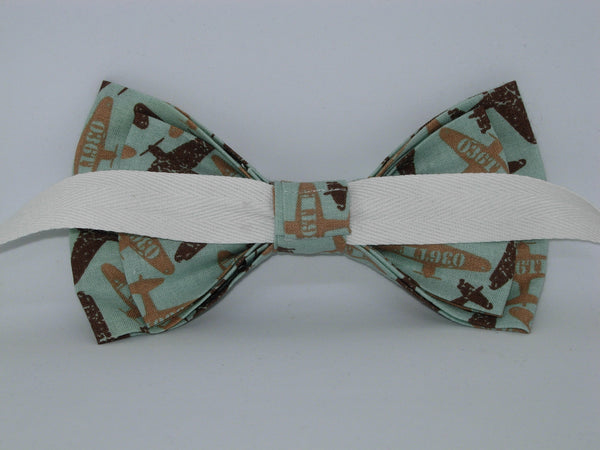 Airplane Bow tie / WWII Planes on Mint Green / Fighter Pilot / Pre-tied Bow tie - Bow Tie Expressions
