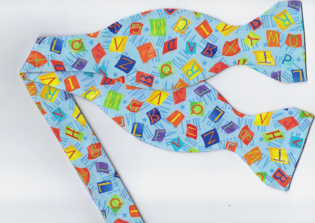 Alphabet Bow tie / Letter Tiles on Blue / Teacher Bow tie / Self-tie & Pre-tied Bow tie