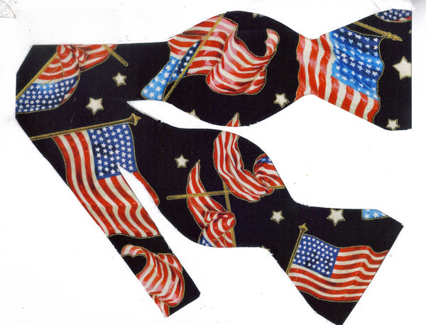 PROUDLY SHE WAVES! BOW TIE - AMERICAN FLAGS & STARS WITH METALLIC GOLD TRIM ON BLACK - Bow Tie Expressions  - 1