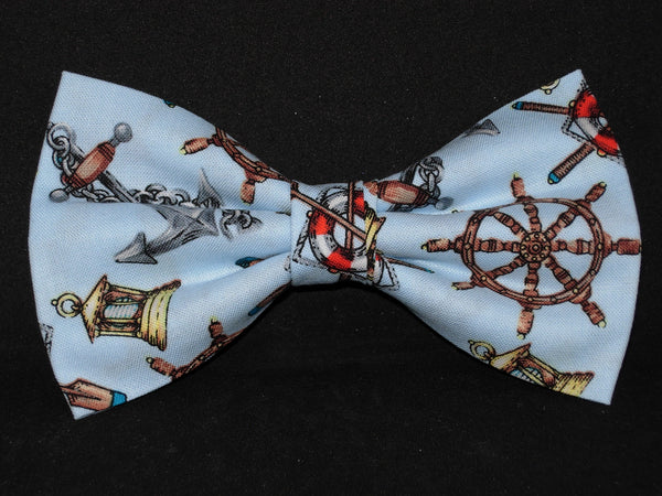 Nautical Bow tie / Anchors, Ship Wheels, Lanterns on Light Blue / Self-tie & Pre-tied Bow tie - Bow Tie Expressions