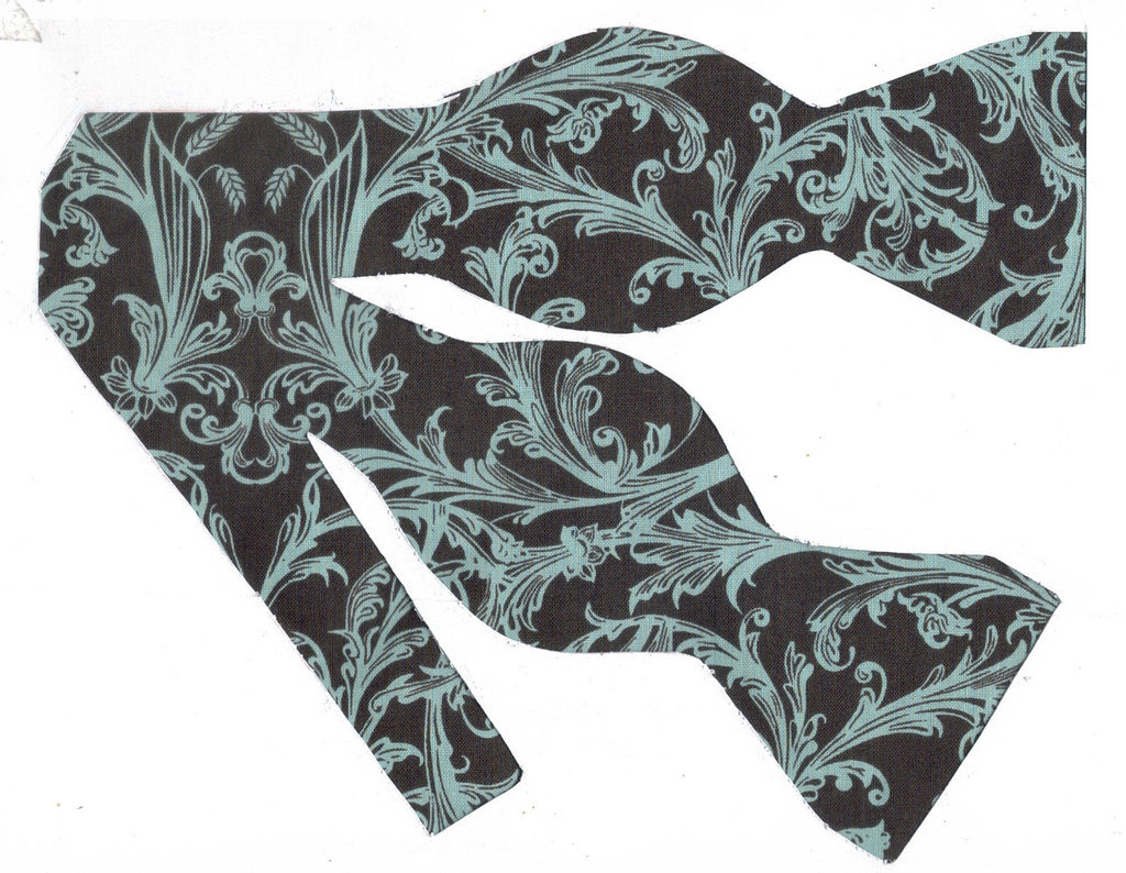 AQUA BLUE DAMASK ON BROWN BOW TIE - Bow Tie Expressions