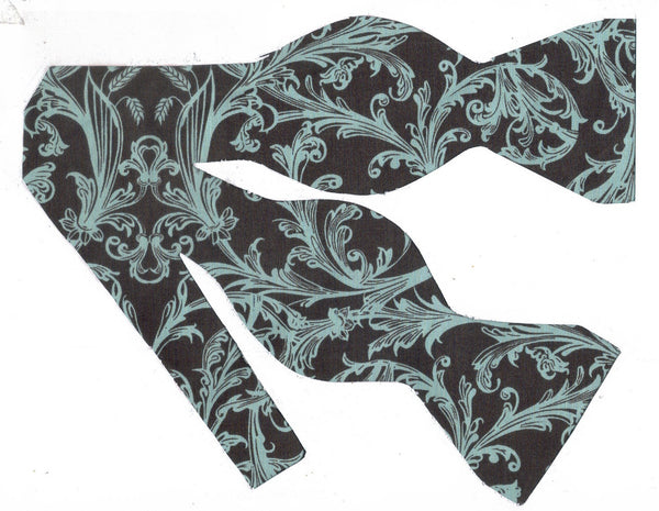 Aqua Blue & Brown Damask Bow Tie - Aqua Blue Damask Print on Chocolate Brown | Self-tie & Pre-tied - Bow Tie Expressions