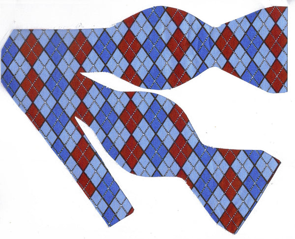 LET IT SNOW ARGYLE BOW TIE - RED, LIGHT BLUE & ROYAL BLUE - Bow Tie Expressions  - 1