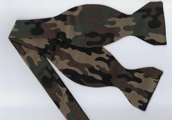 Deep Woods Camo Bow Tie & Cummerbund Set / Green, Brown, Black & Tan Camo / Self-tie or Pre-tied Bow tie - Bow Tie Expressions