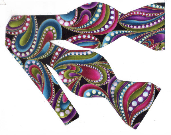 Retro Funky Bow tie / Abstract Paisley / Purple, Teal, Pink Paisley & Metallic Gold / Self-tie & Pre-tied Bow tie - Bow Tie Expressions