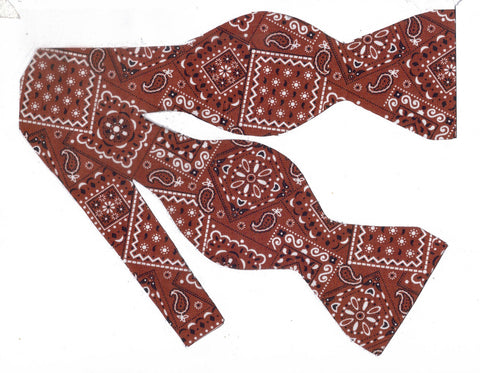 BROWN WESTERN BANDANA BOW TIE - Bow Tie Expressions