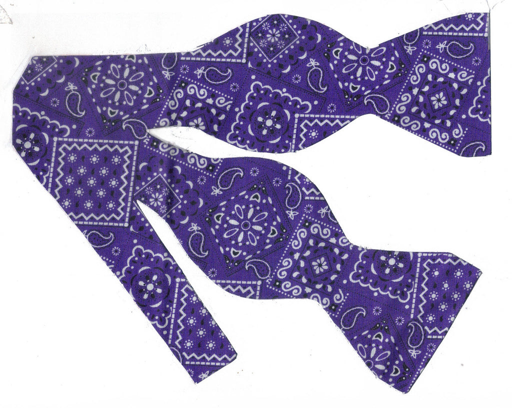 DARK PURPLE WESTERN BANDANA BOW TIE
