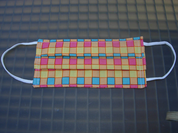 Colorful Checks Face Mask / Washable & Reusable / 2 Layers of Cotton / Soft Ear Loops / Adults & Kids Sizes / Made in USA - Bow Tie Expressions