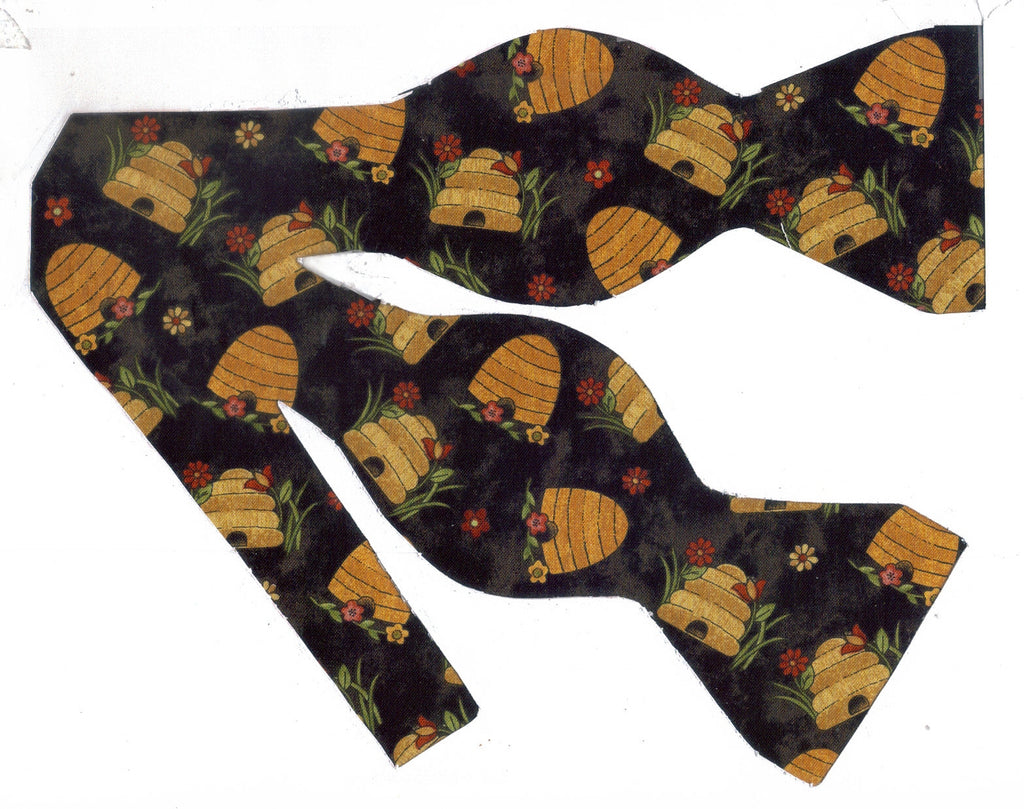 Gold Beehives Bow Tie - Gold Bee Skeps on Brown